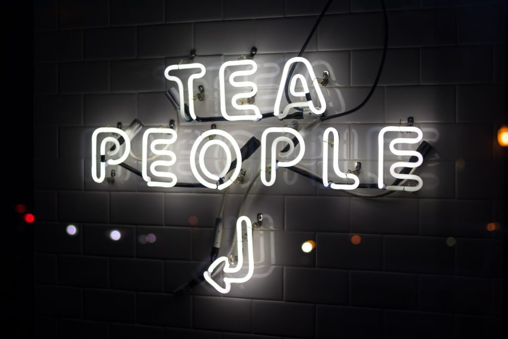 Sign saying 'tea people'